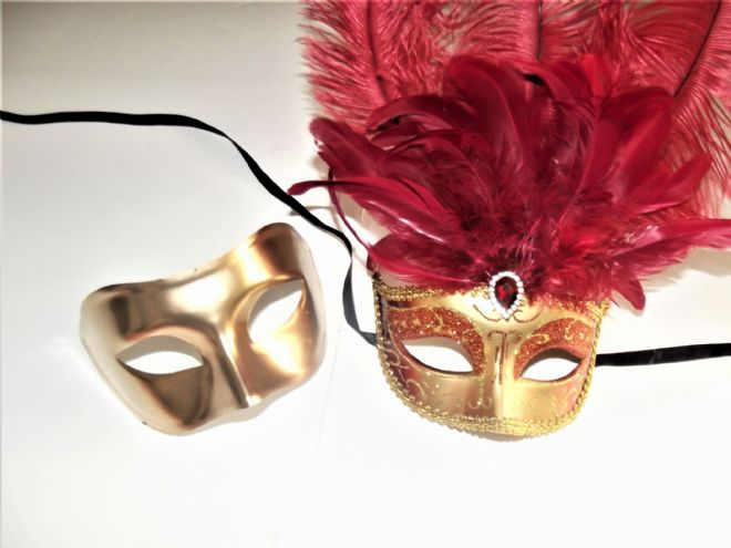 Venetian Style His & Hers Gold Half and Ladies Red Ostrich Mask